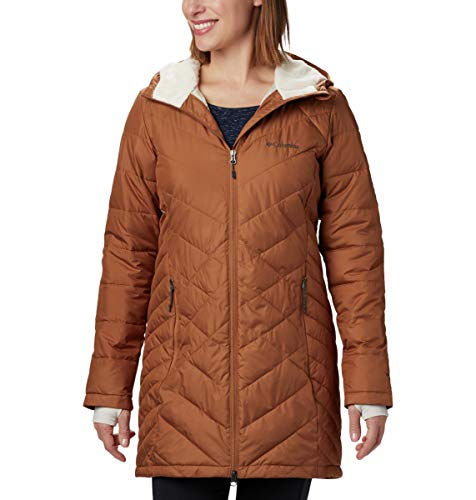 Columbia Women's Heavenly Long Hooded Jacket, Camel Brown, 2X
