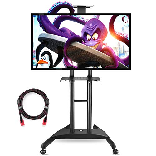 Suptek Rolling TV Cart for 32-70 inch Flat Screen, Mobile TV Mount Stand with Wheels and Shelves for LCD, LED, Plasma (ML5075)