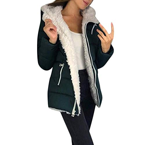 Lulupi Damen Winterjacke Warm Fleecefutter Wintermantel Gefütterte Übergangs Jacke Sweatjacke mit Kapuze Herbst Winter Hooded Parka Mantel Outdoorjacke Outwear Coat