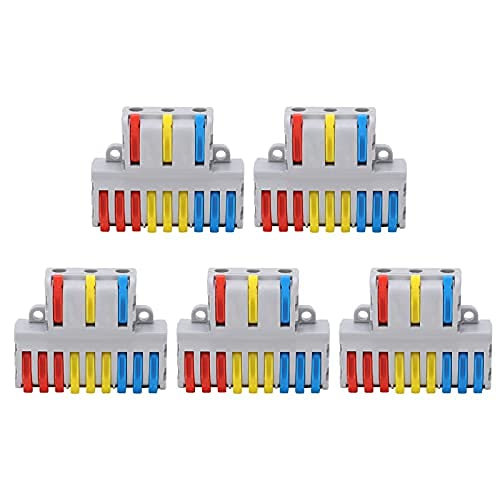 Conector divisor de cable 5 piezas, tuerca de palanca tipo 9 en 3 bloque de terminales de conexión rápida spl‑93, para iluminación, motores
