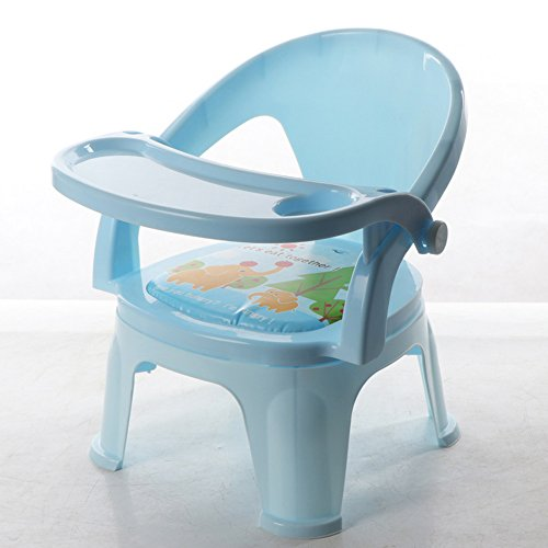 Sofa kruk Brisk- Children's eetkamerstoel Met klankstoel Bring diner tafel Kinderstoel eettafel Rugleuning kruk plastic Light Blue - Detachable Plate