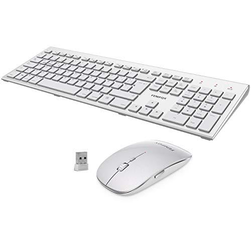 FENIFOX Teclado y Raton inalambrico, diseño ergonómico 2,4 G Teclado inalámbrico y ratón Combinado USB para PC de Escritorio, Mac OS Windows Linux - Cambiar Entre Sistemas duales(Plata
