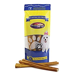 Shadow River Thick 12 Inch 100% Beef Bully Sticks for Medium to Large Dogs – Grass Fed Grain Free Long Lasting Chew Treats for Strong Chewers – Pack of 10