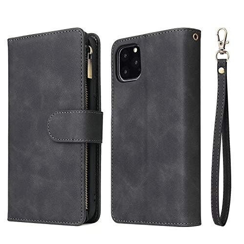 RZL Teléfono móvil Fundas para iPhone 12/12 Pro/Pro 12 MAX 12 Mini, Multi Card Slots Caja de la Carpeta de Lujo de Cuero con Cremallera Cubierta del tirón para el iPhone 11 Pro MAX