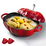 YANGYAYA Pentola per Forni Olandesi Smaltata, Cocotte di Pomodoro in Ghisa con Rivestimento Smaltato, Fornello Multiplo Antiaderente per Carni E Verdure a Cottura Lenta - Miglior Regalo-Rosso 2.8 l