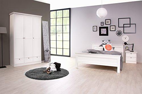 STOCKHOLM Mädchenzimmer Jugendzimmer Schlafzimmer komplett Set im Landhaus Stil in weiß mit Bett 140x200, 2 Nachttischen und Kleiderschrank 120 x 200 x 51 cm in weiß