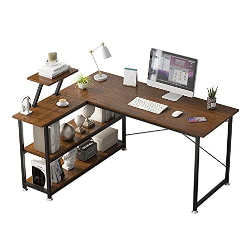 Mesa Ordenador Esquina ORDENADOR PERSONAL Escritorio de escritorio en forma de L 47 'Oficina simple de la oficina de escritura de la oficina de escritura con estantes de almacenamiento, color marrón r
