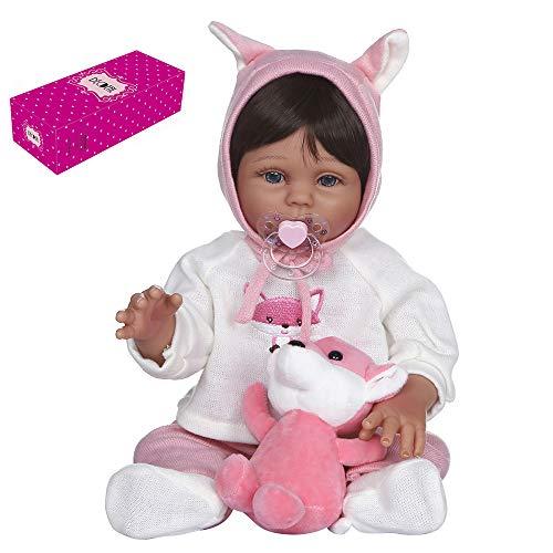 Duotar Boneca Reborn,Reborn Baby Doll Silicone Corpo Inteiro 19 polegadas Bonecas de Banho Fofas Bonecas de Cabelo Loiro Olhos Azuis Boneca Menina Linda Roupa e Brinquedo Rosa