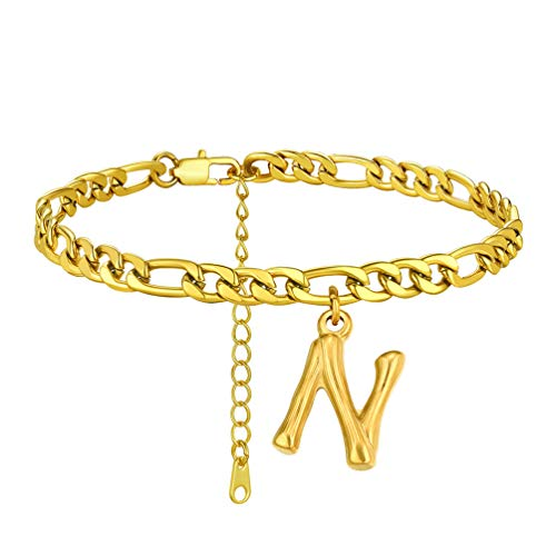 PROSTEEL Women's Anklet with Initial Letter N Gold Plated Ankle Chain