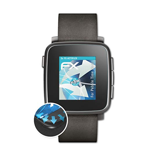 atFoliX Schutzfolie kompatibel mit Pebble Time Steel Folie, ultraklare & Flexible FX Bildschirmschutzfolie (3X)