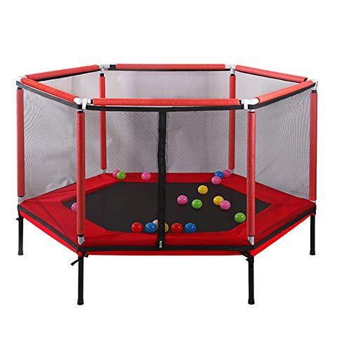 Belleashy Trampolín de fitness para interior y jardín, para niños, trampolín, seguridad para interior, juego de ejercicios para interior y jardín (tamaño libre; color: rojo)