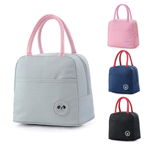 Reusable Insulated Lunch Bag Adult Cool Bag with Front Pocket Zipper...