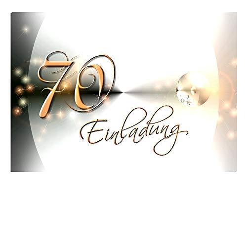 DigitalOase 10 Einladungskarten 70. Geburtstag MIT INNENTEXT Geburtstagskarten MENGE WÄHLBAR Klappkarten Kuverts Format DIN A6#YANG (10)