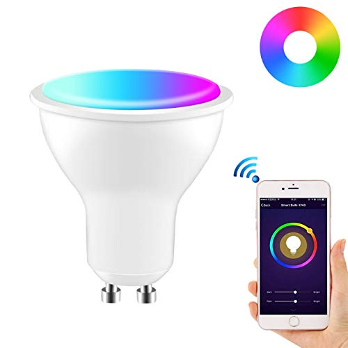 GU10 Bombilla Wifi, bombilla LED inteligente de 6W (RGB + CW) Bombillas de foco Spot Funciona con Alexa, google home, Tmall Genie, IFTTT RGBW Color regulable, no se requiere concentrador (600LM)