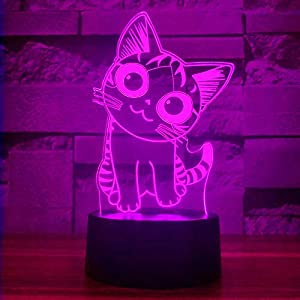 i-CHONY Cat Lamp 3D Illusion Night Lights for Kids – with Smart Touch & USB Cable 7 Colors Cute Kitty NightLights – Cat Lover Gifts for Women Teen Girls Baby Age 2 3 4 5 6 Year Old (Black Base)