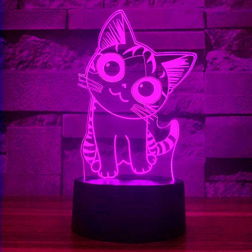Cherish tea Cat Lamp 3D Illusion Night Lights for Kids - with Smart Touch & USB Cable 7 Colors Cute Kitty NightLights - Cat Lover Gifts for Women Teen Girls Baby Age 2 3 4 5 6 Year Old (Black Base)