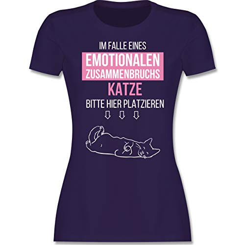 Statement - Im Falle eines emotionalen Zusammenbruchs Katze Hier platzieren - XXL - Lila - lustiges Katzen Shirt - L191 - Tailliertes Tshirt für Damen und Frauen T-Shirt