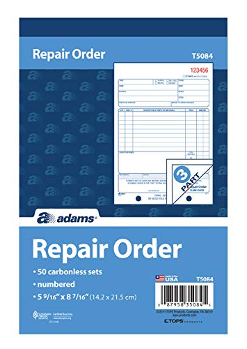 Adams Repair Order Book, 3-Part Carbonless, White/White/White, 5-9/16 x 8-7/16 Inches, 50 Sets (T5084)