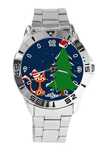 Merry Christmas Eve - Reloj de Pulsera analógico con diseño de árbol de Navidad y Gato de la Suerte, Esfera Plateada de Cuarzo, Correa clásica de Acero Inoxidable para Hombre y Mujer