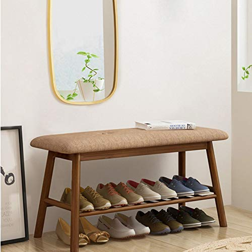 FZX514 Bamboo Shoe Bench for 2, Bamboo Shoe Rack Storage Bench con Cojín De Asiento, Banco Tapizado De Dormitorio En Pasillo (84Cm × 30Cm × 45Cm),Marrón