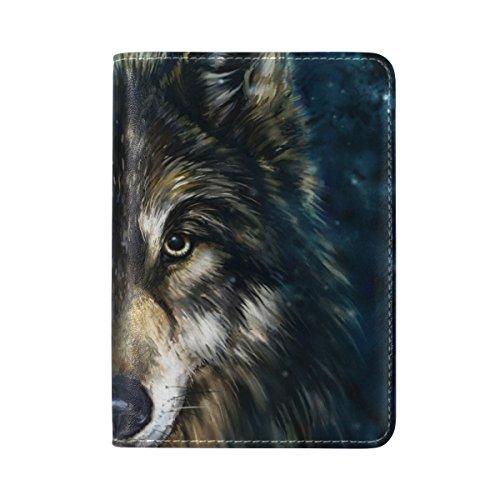 TIZORAX - Funda de piel para pasaporte, diseño de lobo