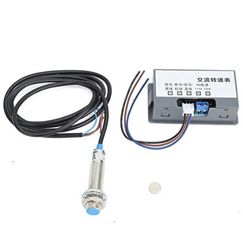 Heayzoki Medidor de Velocidad Digital Pantalla de Tubo de 4 dígitos Tacómetro de Alta precisión de medición AC220V, con Pantalla de Tubo Digital de 4 dígitos