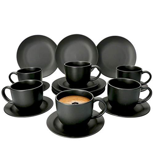 MamboCat 18-teiliges Kaffee-Service Lampart Nero I modernes Steingut-Geschirr-Set für 6 Personen - im modernen Ethno-Stil I Tassen Unterteller Kuchenteller I Kaffeeservice 6 Personen Schwarz matt