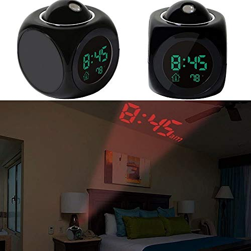 HOMESTY Digital LCD Projector Alarm Clock Wall Projection Weather LCD Screen Snooze Alarm Display Time Voice Alarm LED Back Light