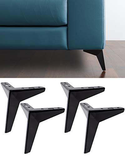 IPEA 4X Piedi per Divani e Mobili Modello Jazz – Set di 4 Piedini in Ferro – Design Moderno ed Elegante Colore Nero Opaco, Altezza 135 mm