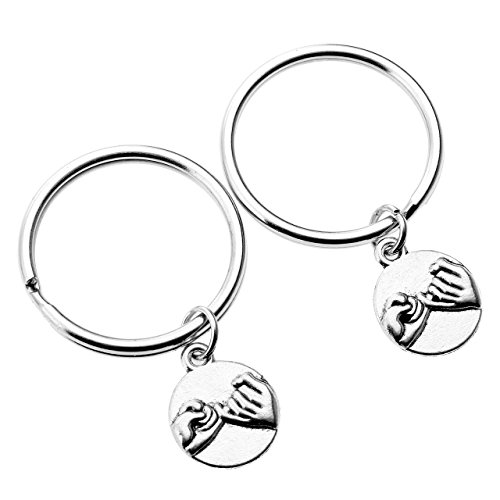 PESOENTH 2pc Silver Round Tag Keychain Pinky Promise Charm Key Chain Ring Couples Keyrings Key Fob Friends Sisters Gifts