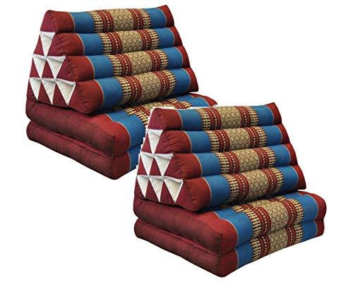 Wilai GmbH Set di 2 Cuscini Triangolo Thai con Piccolo Materasso 2 Pieghe, Fabbricato in Thailandia, Rosso-Blu (2x81202)