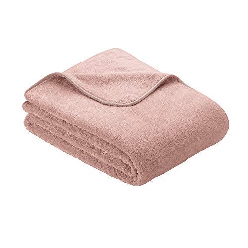 s.Oliver Kuscheldecke 150x200cm Flauschige Wohndecke - warme Microfaser Decke rosa, hochwertig eingefasst