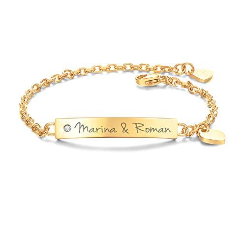 URBANHELDEN - Armband mit Wunschgravur und Zirkonia - Graviertes ID-Armband mit Herz-Anhänger - Damen Gravurarmband Name - Armkette Schmuck - Bar Kristall - in Gold
