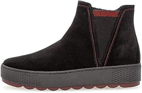 Gabor Damen Chelsea Boots 36.560, Frauen Stiefelette,Stiefel,Halbstiefel,Bootie,Schlupfstiefel,flach,schw(GZ s/rot/Mel),42 EU / 8 UK