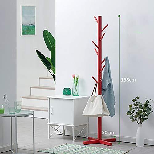 Zhuowei Garderobenständer Jackenständer Kleiderständer Garderobe Holz Flurgarderobe Standgarderobe mit 8 Haken für Garderobe Flur Foyer Büro, zerlegbar,4