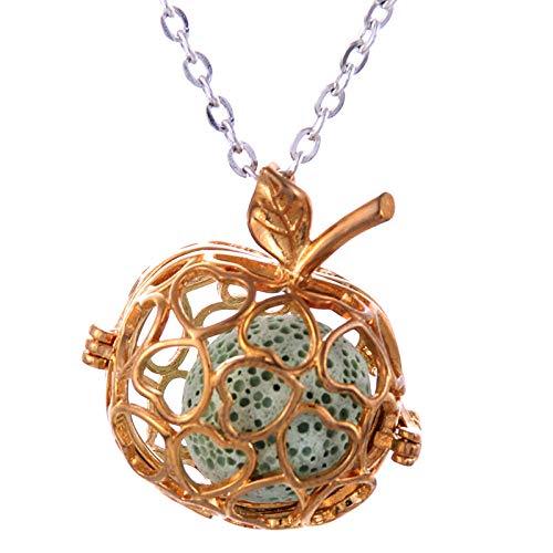 Preisvergleich Produktbild Ätherisches Öl Diffusor Halskettegold Apple Vulkanstein Halskette Frauen Charme Anhänger Parfüm Ätherisches Öl Diffusor Halskette Vulkanstein Anhänger Käfig
