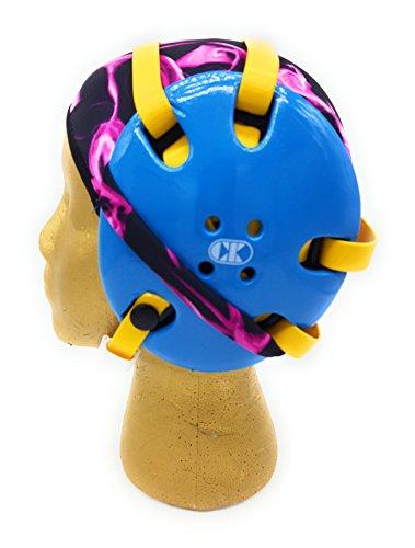 Wrestling Hair Cap - Under The Headgear 4 Strap Style - Pink Flames (Black Trim)