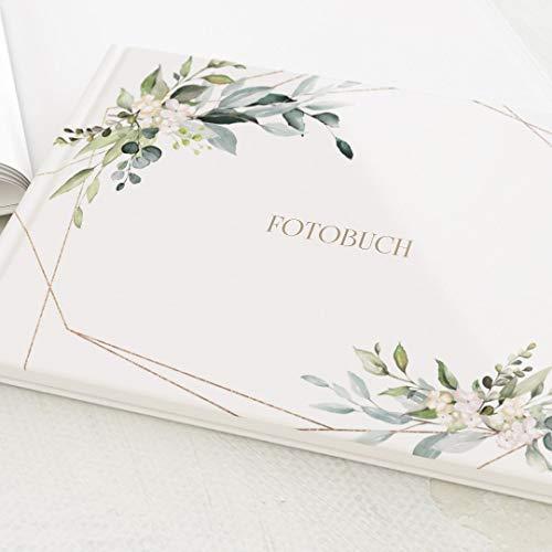 Fotobuch zum Selbstgestalten, Hochzeit, Greenery & Gold, Fotoalbum, personalisierbar, leere weiße Innenseiten zum Fotos einkleben, Hardcover-Buch, Querformat, 32 Seiten oder mehr - Botanik