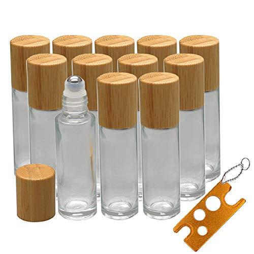 12 Roll On Glasflaschen für ätherisches Öl, Creatiees 10ml Glasroller Nachfüllbarer Behälter mit Bambusdeckel, Glas Roller Flaschen Metall Roller Ball Flasche Container für Aromatherapie, Duftstoff