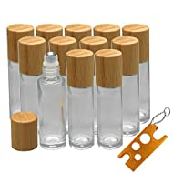 12Pcs 10ml Glass Roll On Bottle with Bamboo Lid for Essential Oils, Creatiee Eco-friendly Refillable Clear Perfume Sample Bottles with Stainless Steel Roller Ball - Portable & Practical