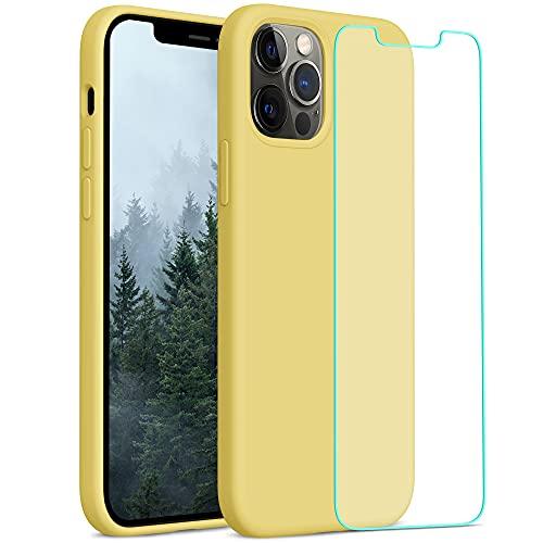 YATWIN Compatibile con iPhone 12 Cover 6,1'', Compatibile con iPhone 12 PRO Cover Silicone Liquido + Vetro Temperato, Protezione Completa del Corpo con Fodera in Microfibra, Giallo
