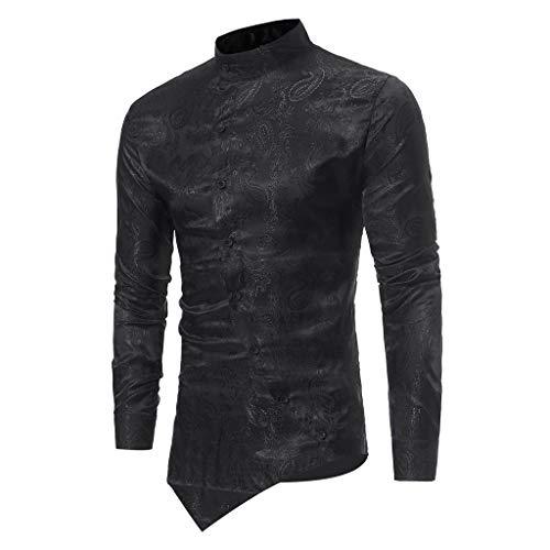 ESAILQ Männer Frühling Irraguler Slim Fit Langarm Printed Muscle T-Shirt Top Bluse(X-Large,Schwarz)