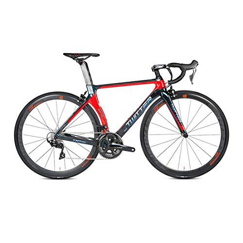Bicicleta de Fibra de Carbono - Bicicleta de Carretera 700C de Fibra de Carbono con Sistema de Cambio Shimano 105/R7000-22 Velocidad, neumáticos 46-52cm y Freno de Carretera C,Rojo,46cm