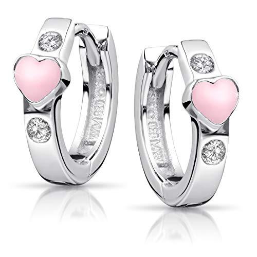 Materia Kinder Ohrringe Creolen Mädchen - Klappcreolen Silber 925 klein Herz rosa Zirkonia nickelfrei + Box SO-390-Rosa