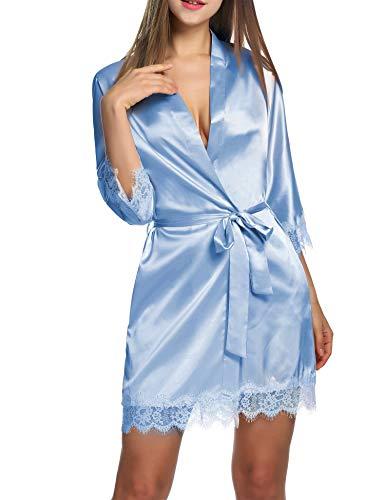 Balancora Damen Morgenmantel Bademantel Satin Sexy Kimono mit Taschen Kurz Robe mit Gürtel Nachthemd für Braut Nachtwäsche Mit Blumenspitze M Hellblau