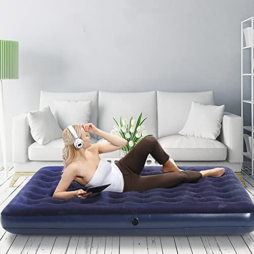 UUHOME Luxury Double High Queen Air Mattress Comfortable Best Back and Shoulder Support Self-Inflating Air Bed for Guests or Travel,137x191x22cm