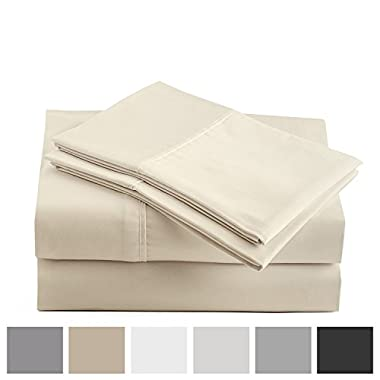 Peru Pima 415 Thread Count - 100% Peruvian Pima Cotton - Percale - Bed Sheet Set (Queen, Ivory)