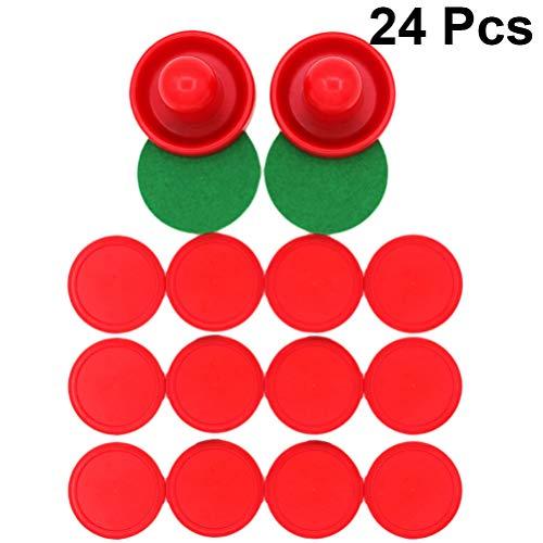 TOYANDONA 24 Stück Air Hockey Zubehör Paddel Griffe Drücker Pucks Ersatz Tor Ausrüstung für Spieltisch (Zufällige Farbe)