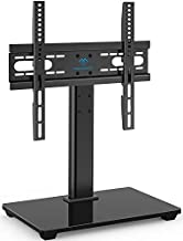 PERLESMITH Universal TV Stand - Table Top TV Stand for 37-55 inch LCD LED TVs - Height Adjustable TV Base Stand with Tempered Glass Base & Wire Management, VESA 400x400mm