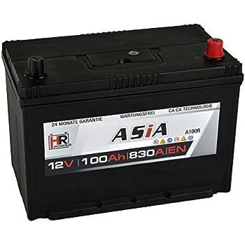 Hr Hipower Asia Autobatterie 12v 100ah Japan Pluspol Rechts Starterbatterie Ersetzt 70ah 80ah 90ah 95ah Amazon De Auto
